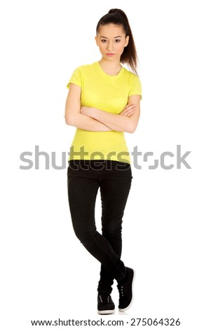 Serious student woman with folded arms. - stock photo