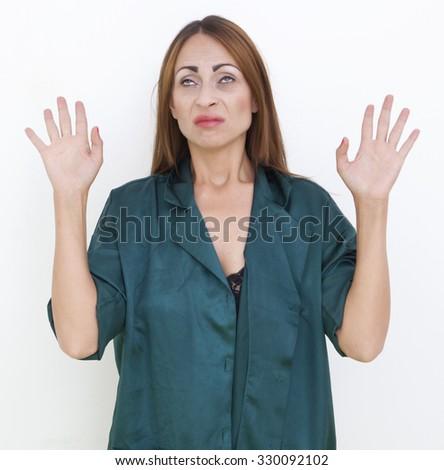 Serious woman - stock photo