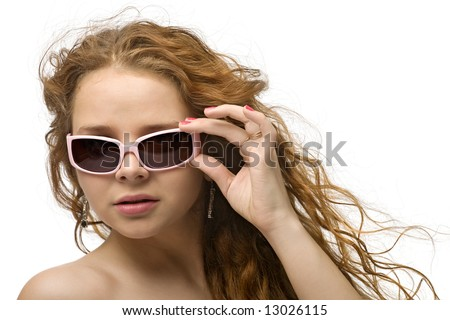 serious woman in sunglasses, isolated on white - stock photo