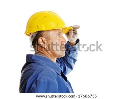 serious worker looking in to the future. isolated on white - stock photo
