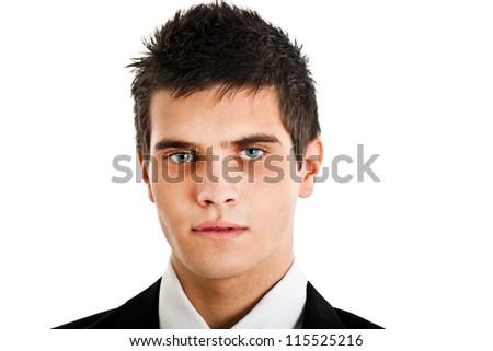 Serious young businessman portrait - stock photo