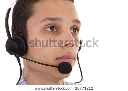 Serious young man with telephone headset