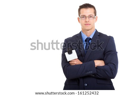serious young news reporter isolated on white - stock photo
