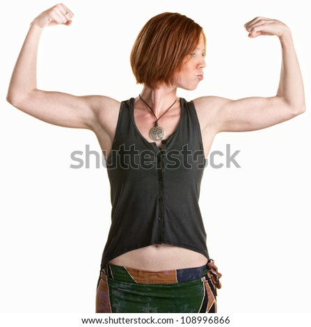 Serious young woman flexing her biceps over white - stock photo