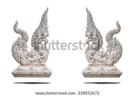 Serpent statue in isolate on white. - stock photo