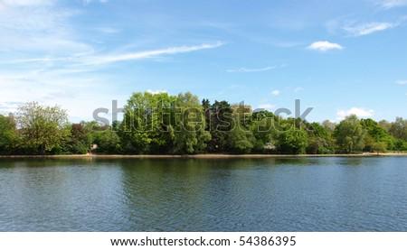 Serpentine lake river in Hyde Park, London, UK - stock photo