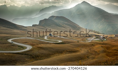 Serpentine road at Passo Giau, Dolomites, Italy - stock photo