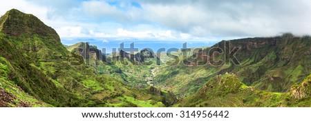 Serra Malagueta mountains in Santiago Island Cape Verde - Cabo Verde - stock photo