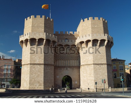 Serranos Towers. A view of the Serranos Towers, a medieval gate in Valencia.