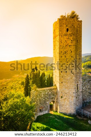 "Serravalle Pistoiese panorama , Tuscany, Italy.Tower ""Rocca Nova "" and typical tuscan landscape.Tuscany medieval towers. - stock photo"
