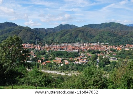 Serravalle Sesia village and landscape of hills, Piedmont, Italy - stock photo