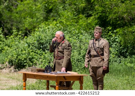 Serres, Greece - May, 15 2016: Reenactment of the Roupel fort battle of the Metaxas Line during the 2nd World War between German and Greek army at Greek-Bulgarian border