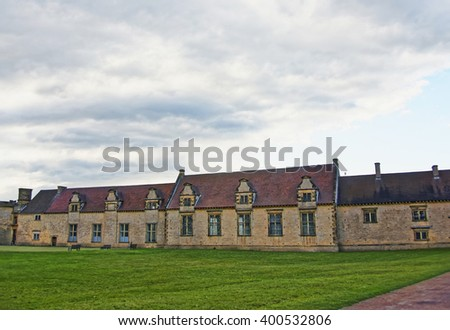 Servant houses in Audley End House in Essex in England. It is a medieval county house. Now it is under protection of the English Heritage. - stock photo