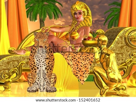 Serve the Pharaoh Queen.  A golden servant presents a bowl of fruit to his Egyptian queen while she lies on a chase lounge with a leopard at her feet. Egyptian digital art fantasy scene. - stock photo
