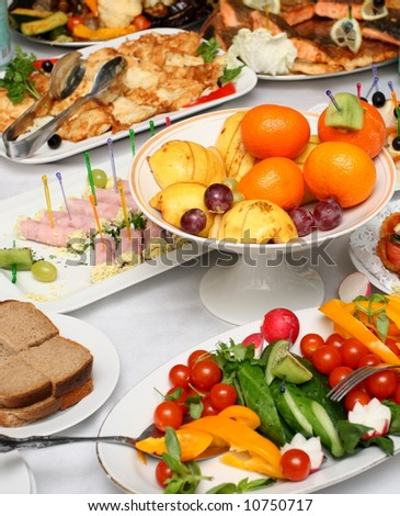 Served banquet table (87_) - stock photo