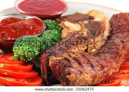 served beef steak with hot chili spicy sauces