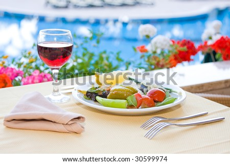Served breakfast - stock photo