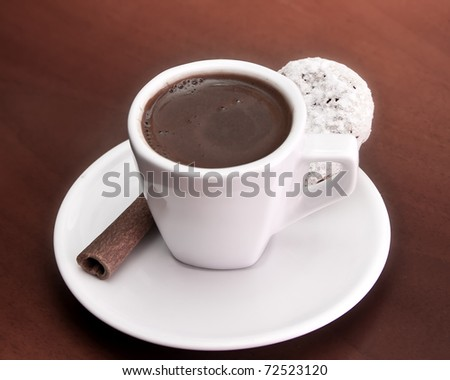 served  coffee and biscuits - stock photo