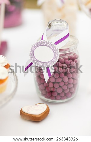Served festive candy bar - bowl with candies - stock photo