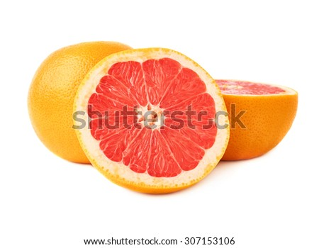 Served fresh grapefruit composition isolated over the white background