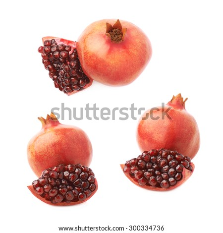 Served pomegranate Punica granatum fruit composition isolated over the white background, set of three different foreshortenings - stock photo