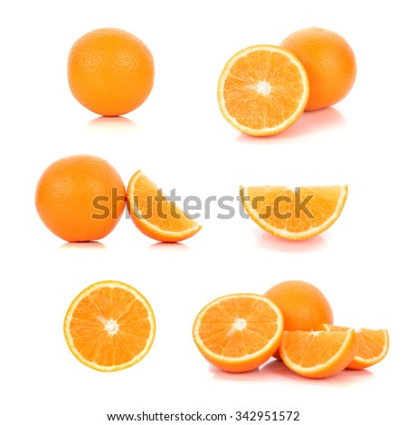 Served ripe orange fruit composition isolated over the white background