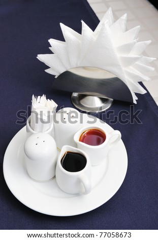 Served table in the restaurant. - stock photo