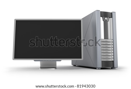 Server case and display isolated on white