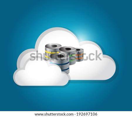 server cloud connection illustration design over a blue background - stock photo