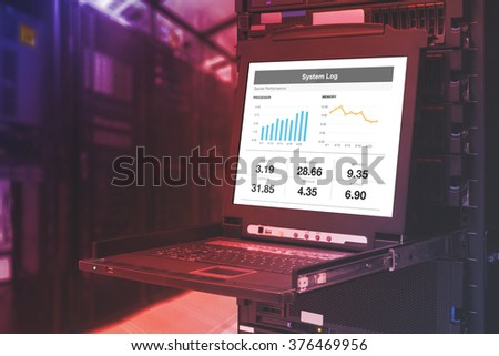 Server computer KVM display in the modern interior of data center with abstract color effect. - stock photo