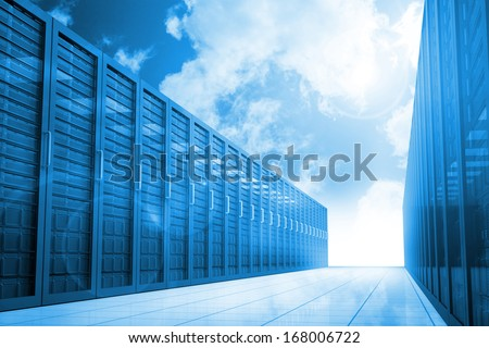 Server hallway in the blue sky - stock photo