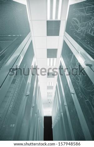 Server house angle shot with racks - stock photo
