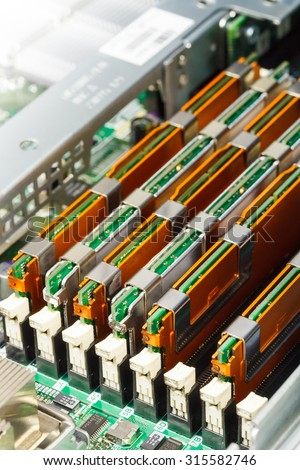 server maintenance, removing the memory module from the system board, closeup - stock photo