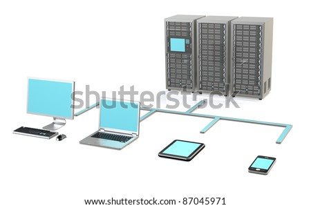Server Network. 3 Server Racks, Workstation, Laptop, touch pad and smart phone - stock photo