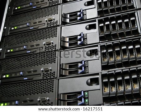 Server rack cluster of six computers in a data center - stock photo