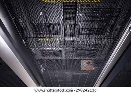 server rack door close up - stock photo