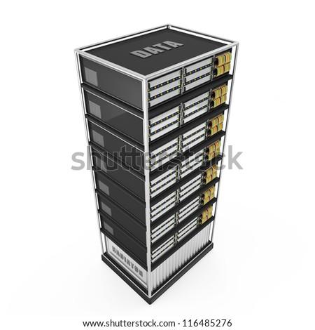 Server Rack isolated on white background - stock photo
