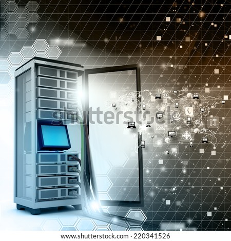 Server rack with network cables - stock photo