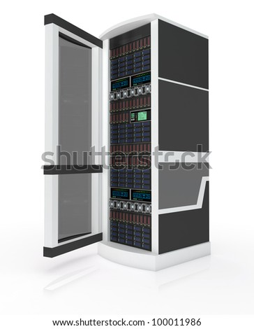 Server rack with open door isolated on white - stock photo