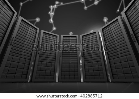 Server room against futuristic black background with lines