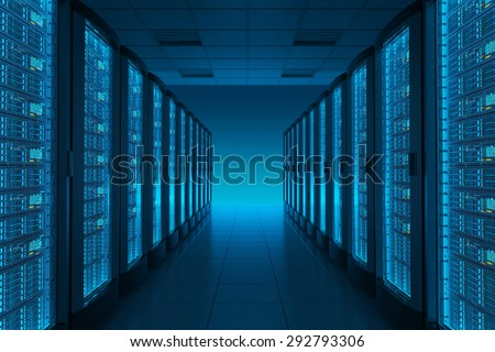Server room in datacenter. Hosting services.