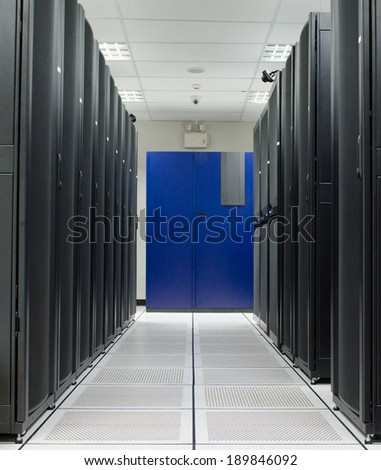 Server room with black Rack and blue Air condition