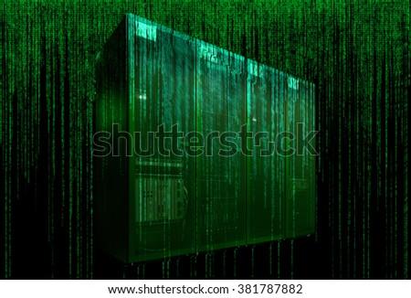 server room with matrix code - stock photo