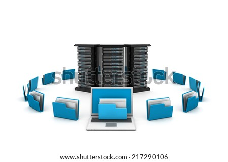 Server with folders.(data sharing concept) - stock photo