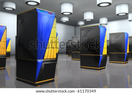 Servers arranged in rows - stock photo