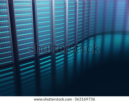 Servers lined up on an abstract background. Abstract image on technology concept. - stock photo