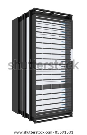 Servers Rack Tower Isolated on White. - stock photo