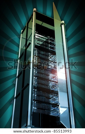 Servers Tower with Open Glass Door. Cool Glassy-Metal Server Rack Tower. Rays Background. Cool Hosting and Networking Related Illustration - stock photo