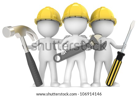 Service and repair. 3D little human character The Builders X3 with Tools. People series. - stock photo