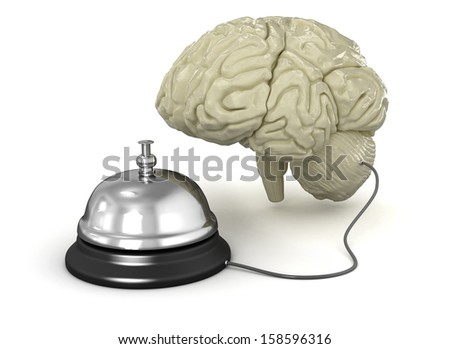Service bell and human brain - stock photo